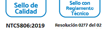 Sello de calidad NTC5806:2019 y sello con reglamento técnico 0277